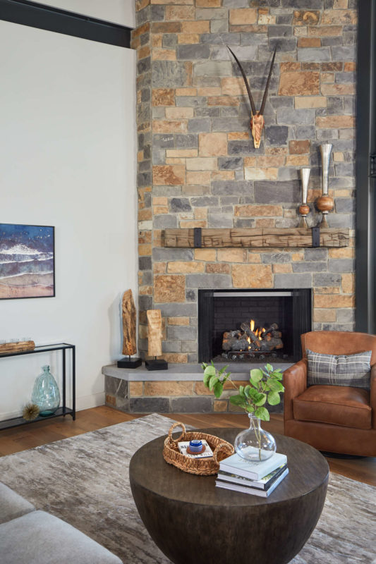 coffee table and fireplace