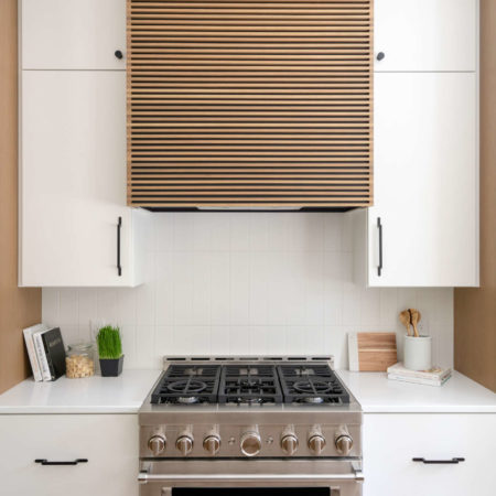 stove top and cabinets in kitchen